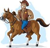 Cowboy på häst stock illustrationer