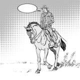 Cowboy på häst horsemanship Cowboy på affischen för vektor för hästritttappning Världen av vilda västern Fotografering för Bildbyråer