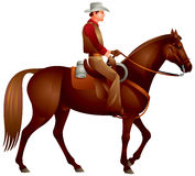 Cowboy på hästen stock illustrationer