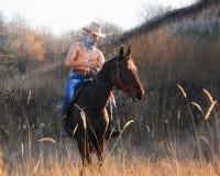 Cowboy på horseback2 Fotografering för Bildbyråer