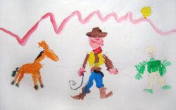 Cowboy painting made by child. Gouache painting of a cowboy and his horse made by child Stock Images