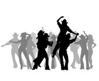 Cowboy party. Silhouettes,  illustration Stock Images