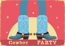 Cowboy party card background with cowboy legs in western boots. Vintage western poster in flat style royalty free illustration