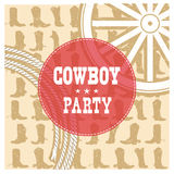 Cowboy party card background Stock Photo