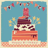 Cowboy party card with big cake and cowboy shoe. Stock Image