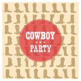 Cowboy party card illustration Royalty Free Stock Photography
