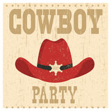 Cowboy party card illustration with western hat Royalty Free Stock Images