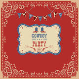 Cowboy party card with text and decorations Stock Photography