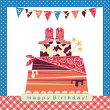 Cowboy party illustration with big cake and cowboy shoes on swee Royalty Free Stock Images