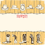 Cowboy party paper background for text. Royalty Free Stock Images