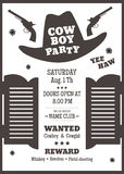 Cowboy party poster. Or invitation in western style. Cowboy hat silhouette with text. Vector illustration Royalty Free Stock Photos
