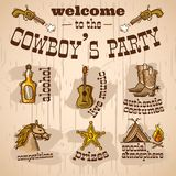 Cowboy party set Stock Photo