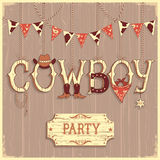 Cowboy party text .Vector background Stock Photos