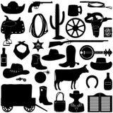 Cowboy Pictograms di vettore royalty illustrazione gratis