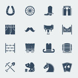 Cowboy pictograms.Vector wild west Stock Images