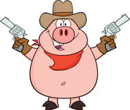 Cowboy Pig Cartoon Character, das zwei Revolver hält Lizenzfreie Stockbilder