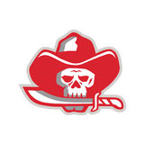Cowboy Pirate Skull Biting Knife Retro Stock Image
