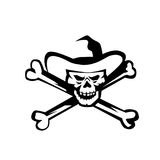 Cowboy Pirate Skull Cross Bones Retro Royalty Free Stock Images