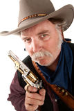 Cowboy with pistol. Cowboy on white background with pistol Royalty Free Stock Photo