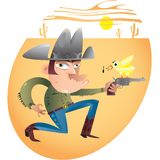 Cowboy and pistol in desert. A cartoon of an artistic cowboy pointing a pistol with a bird on it, in the desert vector illustration