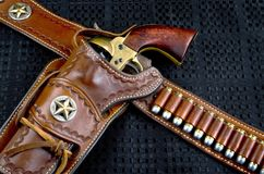 Cowboy 45 Pistol and Holster. Stock Image