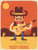 Cowboy playing guitar.Vector country music illustration Royalty Free Stock Photos