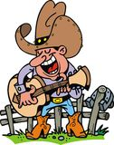 Cowboy playing music. Isolated on the white background Stock Photo