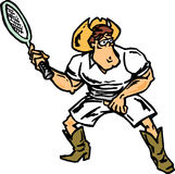 Cowboy playing tennis. Big cowboy playing tennis with racket Stock Image