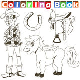 Cowboy pony colorbook Royalty Free Stock Images