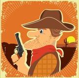Cowboy portrait.Vector grunge image Stock Image
