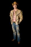 Cowboy posing 3. Adult cow boy looking great and posing for fashion shots royalty free stock photography