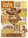 Cowboy Poster Illustration. Cowboy poster with saloon and wanted dead or alive symbols flat vector illustration Stock Image