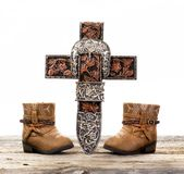Cowboy Prayer Cross stock images