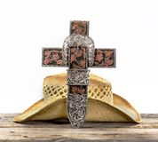 Cowboy Prayer Cross royalty free stock photography
