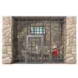 Cowboy prisoner sleeps in a prison cell Stock Image