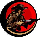 Cowboy Profile Aiming Guns Mascot Illustration. Graphic Mascot Image of a Cowboy Shooting Pistols Royalty Free Stock Image