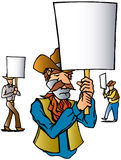Cowboy Protest. Cowboys protesting and holding signs Royalty Free Stock Photo