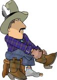 Cowboy putting on his boots. This illustration that I created depicts a cowboy putting on his boots Stock Photo