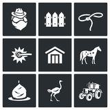 Cowboy ranch icons set. Vector Illustration. Vector  Flat Icons collection on a black background for design Royalty Free Stock Photo