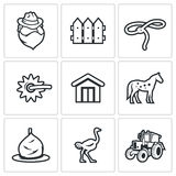 Cowboy ranch icons set. Vector Illustration. Vector Isolated Flat Icons collection on a white background for design Stock Photography