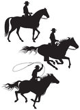 Cowboy rancher silhouettes. Cowboy rancher on the horse vector silhouettes Royalty Free Stock Photography