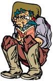 Cowboy Reading Novel. Cowboy reading a sad novel and crying Stock Photo