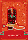 Cowboy red christmas card for text Royalty Free Stock Photos