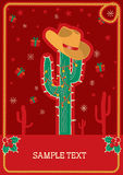 Cowboy red christmas card for text Royalty Free Stock Images