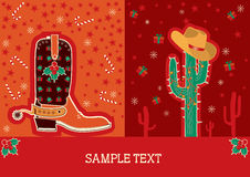 Cowboy red christmas card for text Stock Photo