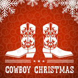 Cowboy red christmas card with text and snowflakes Royalty Free Stock Photography