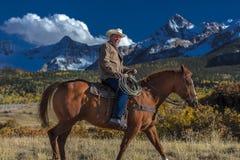 Cowboy reitet Pferd über historischer letzter Dollar-Ranch auf Hastings Stockbild