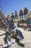 Cowboy resting, Inter-Tribal Ceremonial Indian Rodeo, Gallup, NM Royalty Free Stock Images