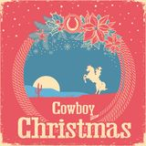 Cowboy retro Christmas card with cowboy lasso and holiday decora. Tion.Vintage american background with text Royalty Free Stock Photos