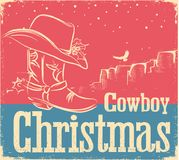 Cowboy retro Christmas card with western shoe and western hat Royalty Free Stock Photo